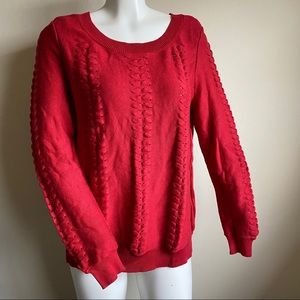 Michael Kors Red Knit Fisherman Sweater Top